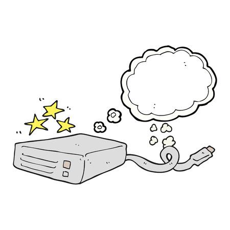 disco duro: a mano alzada pensamiento dibujado disco duro del ordenador de burbujas de dibujos animados
