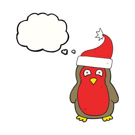 christmas robin: freehand drawn thought bubble cartoon christmas robin wearing christmas hat Illustration