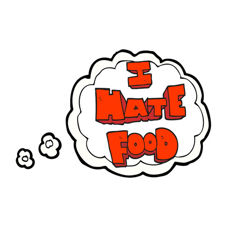 hate: freehand drawn thought bubble cartoon i hate food symbol Illustration