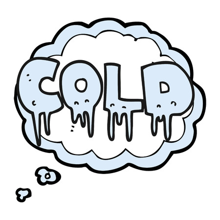 thought bubble: freehand drawn thought bubble cartoon word cold Illustration