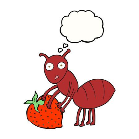 hormiga caricatura: a mano alzada pensamiento dibujado burbujas de dibujos animados hormiga con la baya