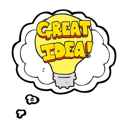 A mano libera pensiero disegnato bolla grande idea simbolo lampadina Archivio Fotografico - 54033594