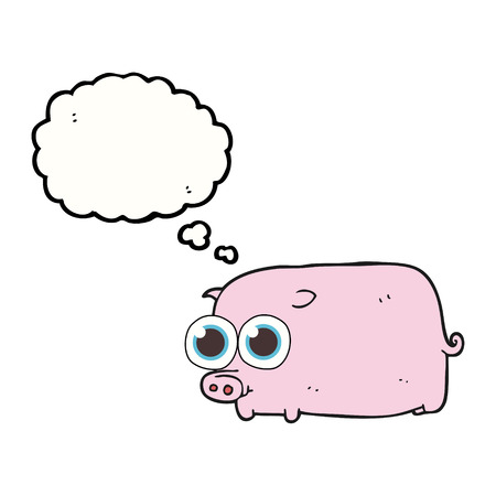 piglet: freehand drawn thought bubble cartoon piglet with big pretty eyes