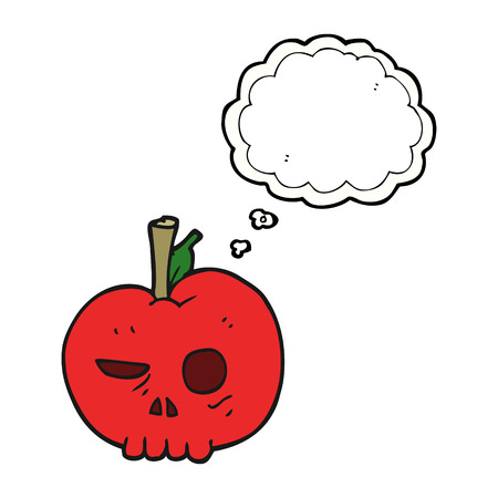 apple clipart: freehand drawn thought bubble cartoon poison apple Illustration
