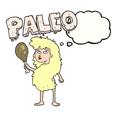 stoneage: freehand drawn thought bubble cartoon woman on paleo diet Illustration