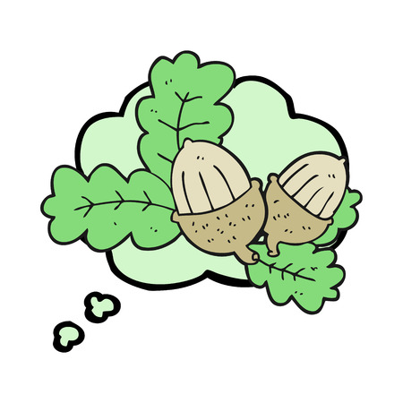 acorns: freehand drawn thought bubble cartoon acorns and leaves