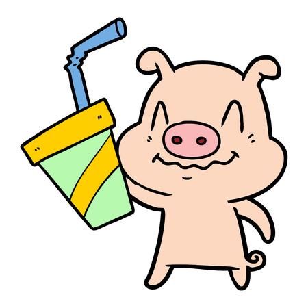 거대한 소다가있는 긴장된 만화 돼지