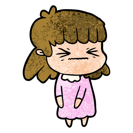 Angry girl in cartoon illustration. Illustration