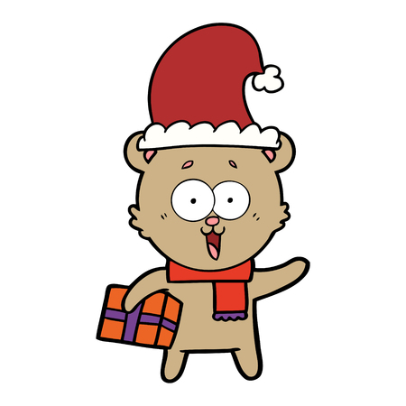 Laughing teddy bear with Christmas present.