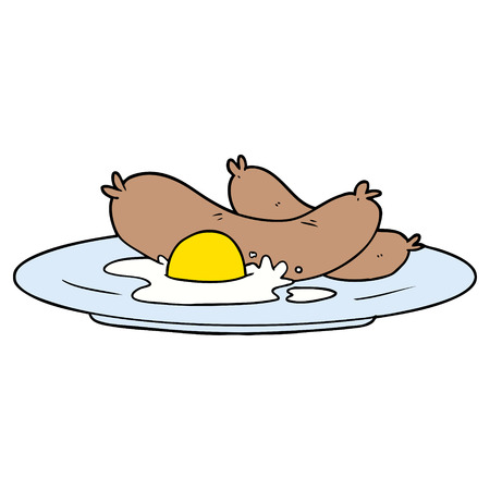 Cooked breakfast in cartoon illustration..