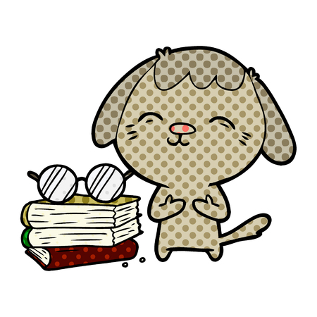 Happy dog scholar in cartoon illustration.
