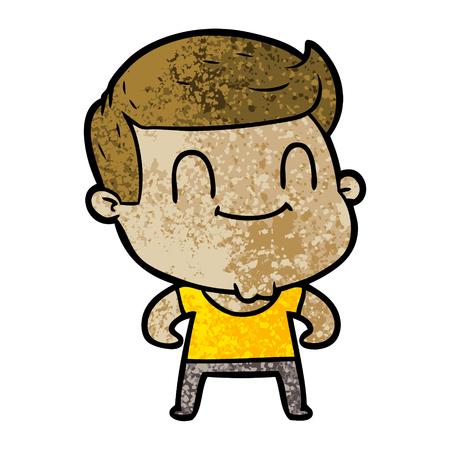 Friendly man in cartoon illustration.