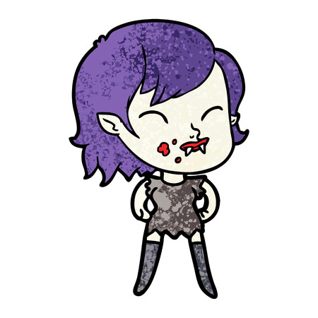 cartoon vampire girl with blood on cheek Stok Fotoğraf - 94472711