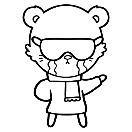 crying cartoon bear wearing rave sunglasses Иллюстрация
