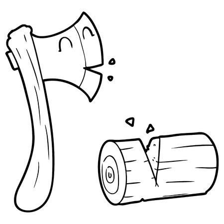 漫画の斧チョッピング木材