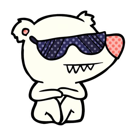 cool polar bear cartoon sitting
