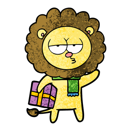 cartoon tired lion with gift