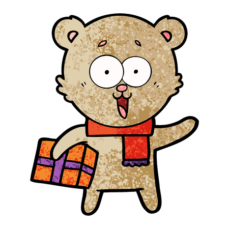 Laughing teddy bear with christmas present in cartoon illustration. Illustration