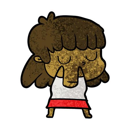 Indifferent woman in cartoon illustration.