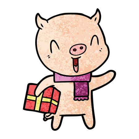 Happy pig with present in cartoon illustration. Illustration