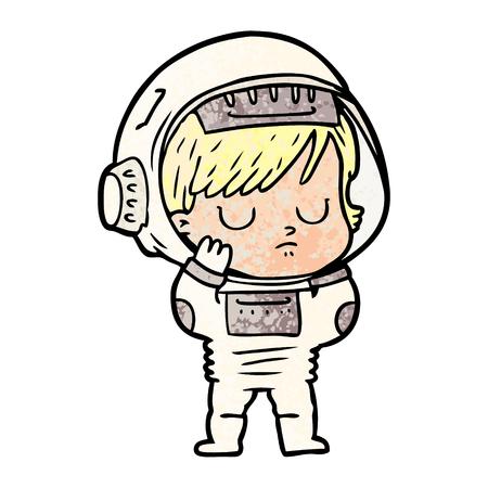 Astronaut woman im cartoon illustration. Illustration