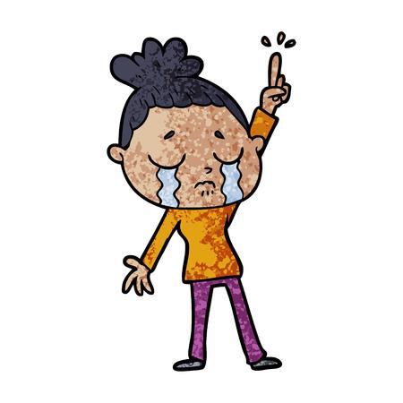 cartoon crying woman raising hand Ilustração