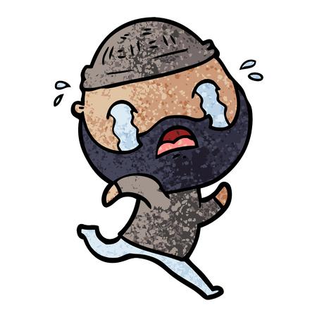 cartoon bebaarde man huilen