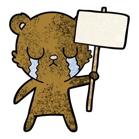 crying cartoon bear with sign Ilustracja