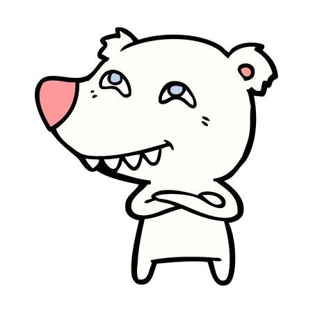 Polar bear in cartoon illustration.