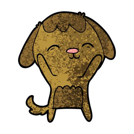 Gelukkige hond in cartoon afbeelding.