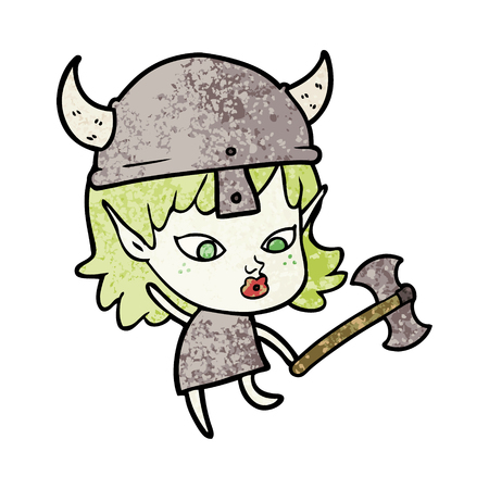 Pretty viking elf girl in cartoon illustration. Illustration
