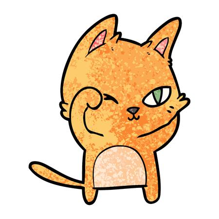 Cat rubbing eye in cartoon character illustration.