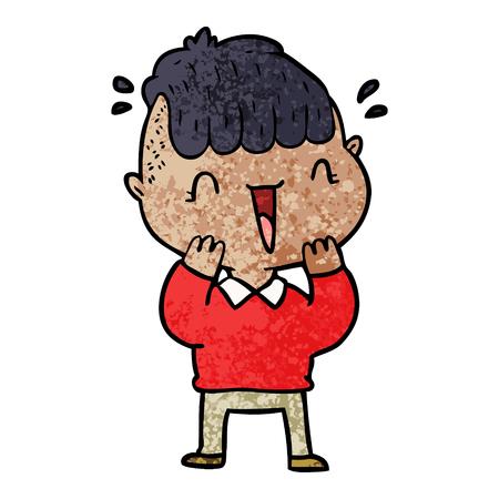 漫画のイラストに驚いた幸せな少年。
