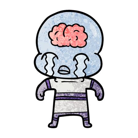 Big brain alien crying in cartoon illustration. Illusztráció
