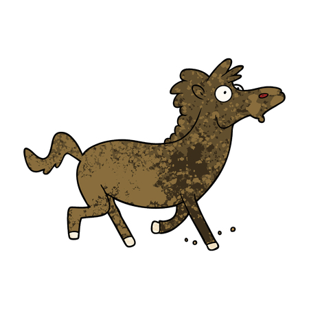 Running horse in cartoon illustration. Иллюстрация