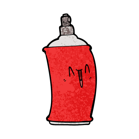 Happy spray can in cartoon illustration.