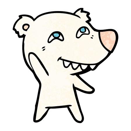 Polar bear waving in cartoon illustration.