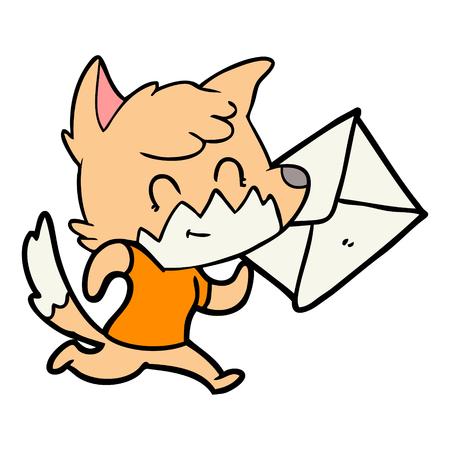 Cartoon gelukkig vos met letter Stock Illustratie