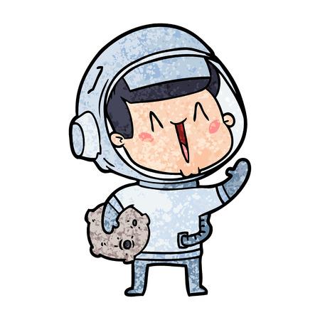 happy cartoon astronaut with moon rock Ilustração