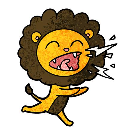 Illustration de dessin animé lion en cours d'exécution. Banque d'images - 94621362