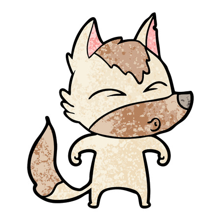 Cartoon wolf whistling. Çizim