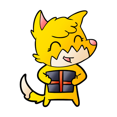 fox cartoon character with present Illustration