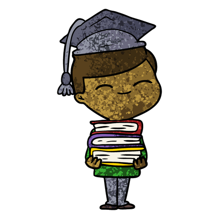 cartoon smiling boy with stack of books