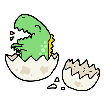 Cartoon dinosaur hatching from egg.