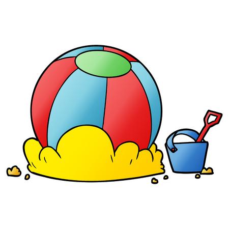 cartoon beach ball and bucket