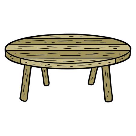 漫画の木製のテーブル。