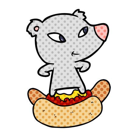 cute cartoon bear riding huge hotdog 版權商用圖片 - 94621507