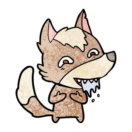 Cartoon hungry wolf. Çizim
