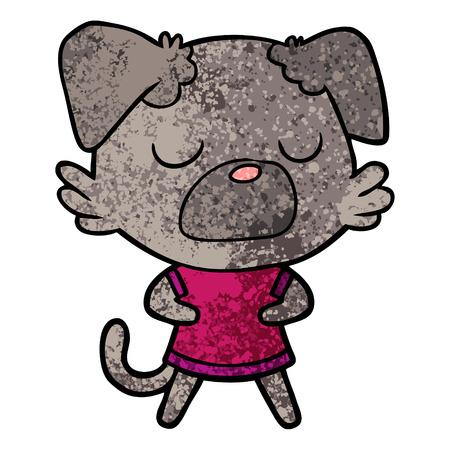 Closed-eyed dog cartoon