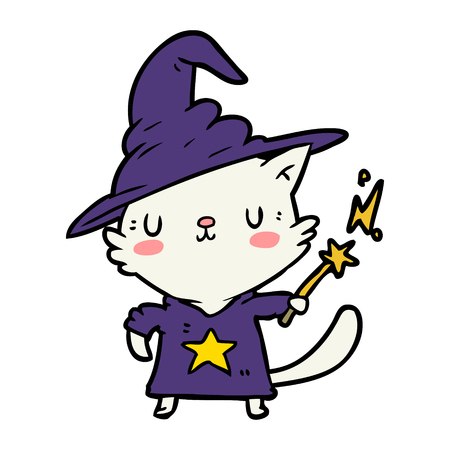 magical amazing cartoon cat wizard illustration.